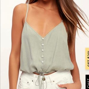 Green button down crop top.